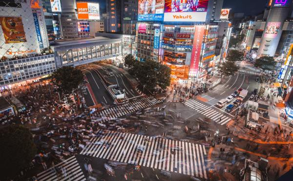Busy japan intersection