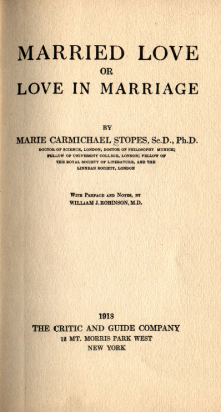 Cover page of Marie Stope's book Married Love or Love in Marriage.