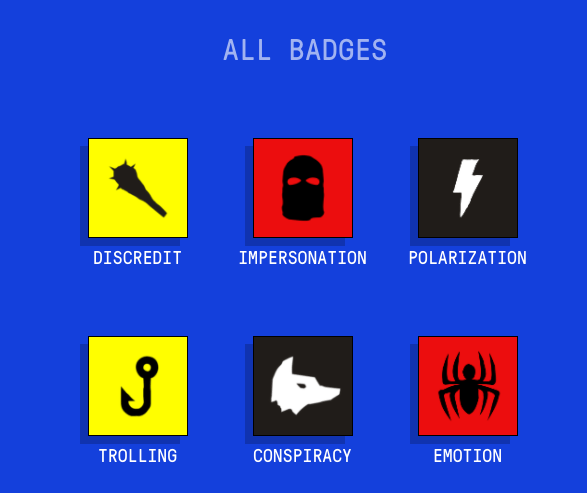 Badges identify ways misinformation exploits people's minds