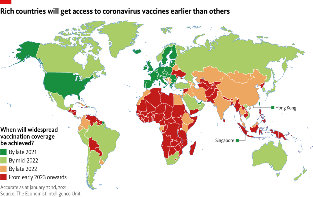 The Economist Intelligence Unit infographic showing vaccine access by country.