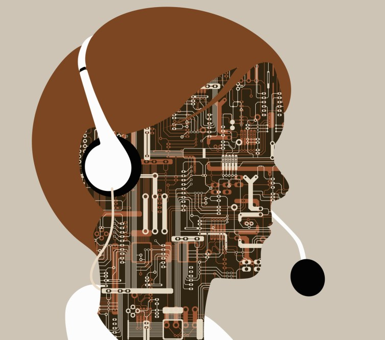 A cyborg wears a headset.