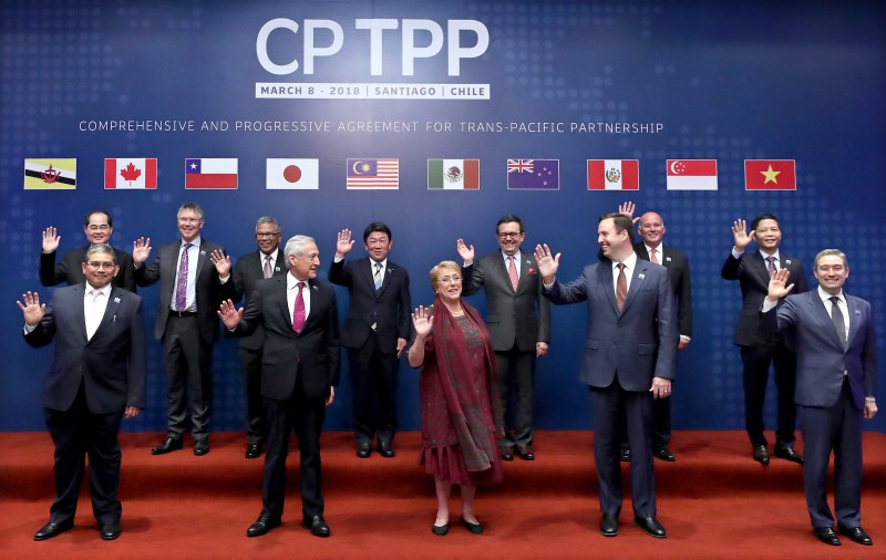 CPTPP member leaders posing for a group shot
