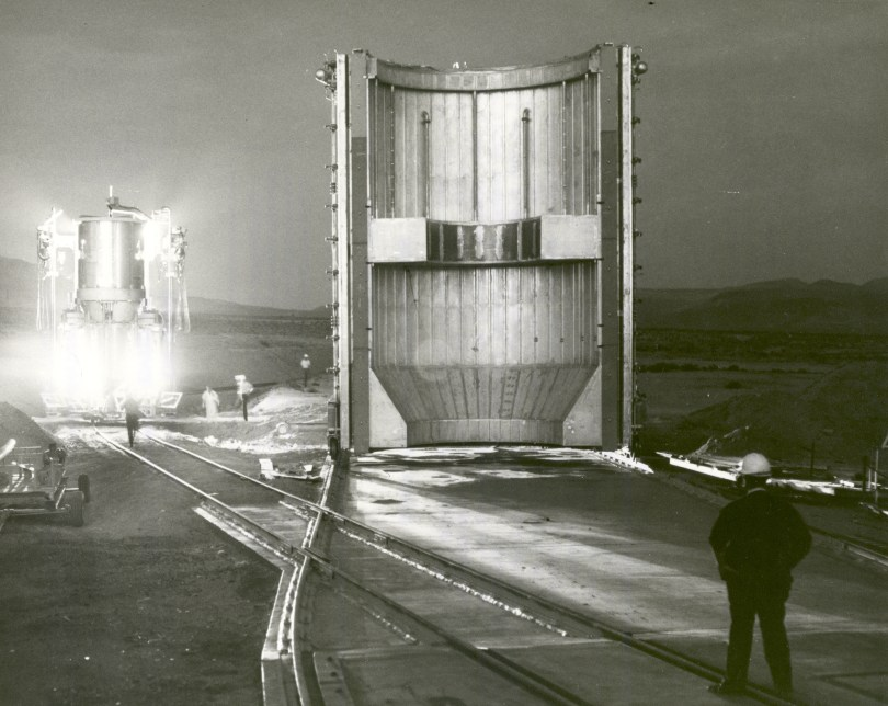 Image of a nuclear rocket engine being transported to test stand in Jackass Flats, Nevada, in 1967.