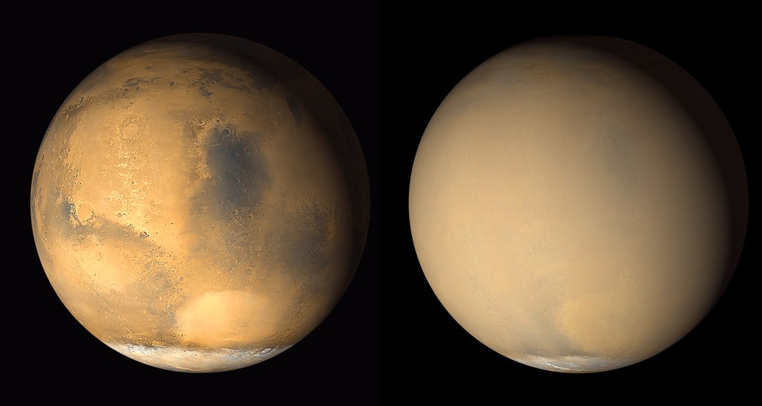 Two pictures of Mars. On the left its surface is visible, on the right it is obscured by dust.