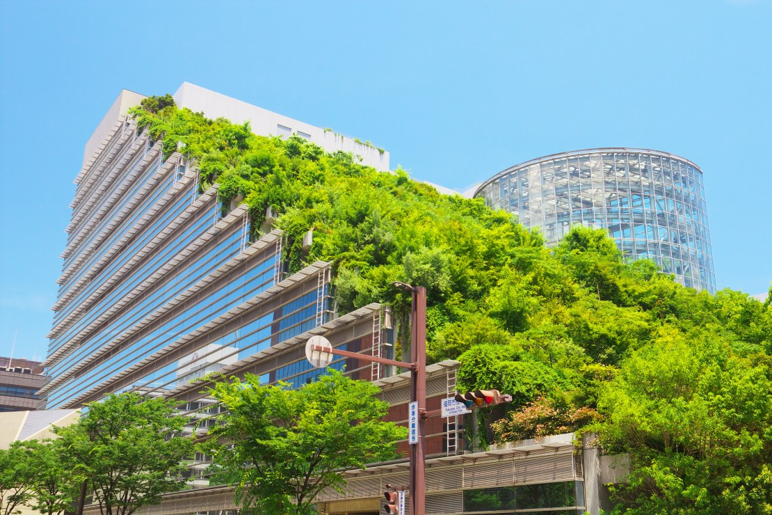 Vegetation covers the exterior of a building in a Japanese city.