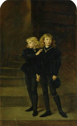 Two young boys dressed in black stand in a tower.
