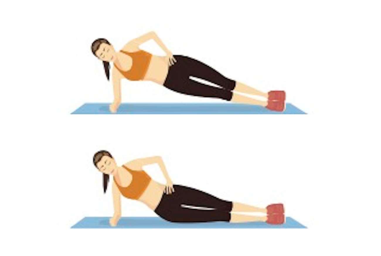 Un'illustrazione di due posizioni della plancia laterale: una con i fianchi in basso e l'altra con i fianchi in alto.