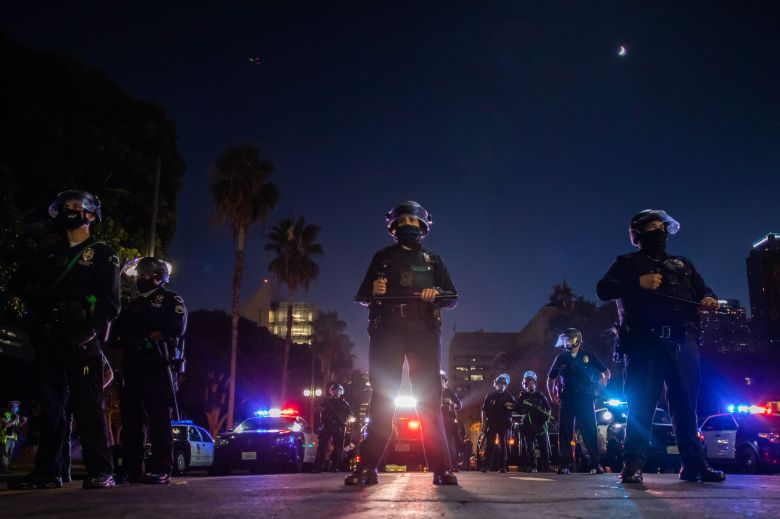Police officers in front of LA City Hall.