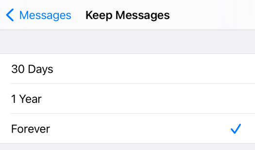 Messages history options