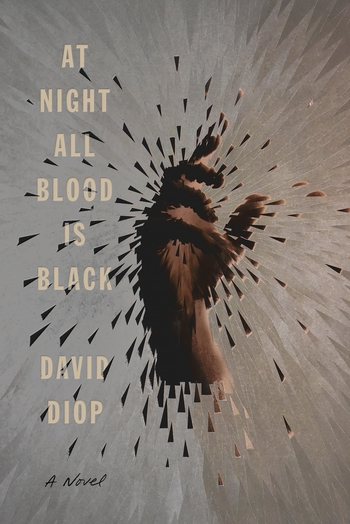 A book cover with an illustration of a hand, reaching up, splintering as if liquid and the words, 'At Night All Blood Is Black'