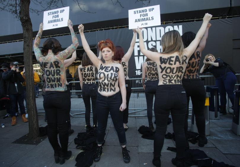 Protesters at London Fashion Week in 2018.