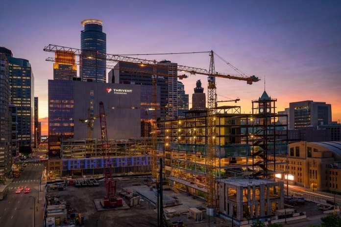 Cranes over a city centre construction project