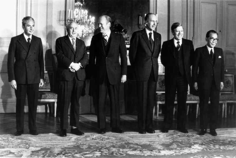 Leaders of the U.S., U.K., France, West Germany, Japan and Italy pose for a picture during a meeting of the then-G-6 in 1975.