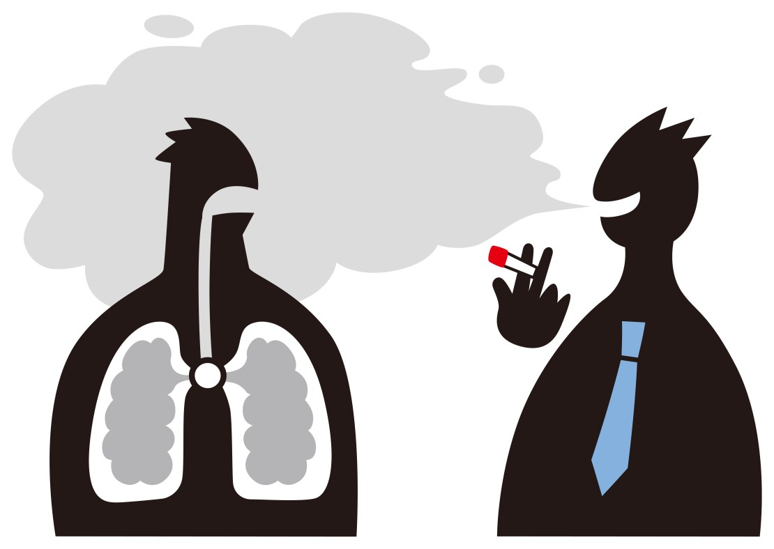 Cartoon of someone smoking and blowing their smoke into the lungs of another character whose lungs are shown.