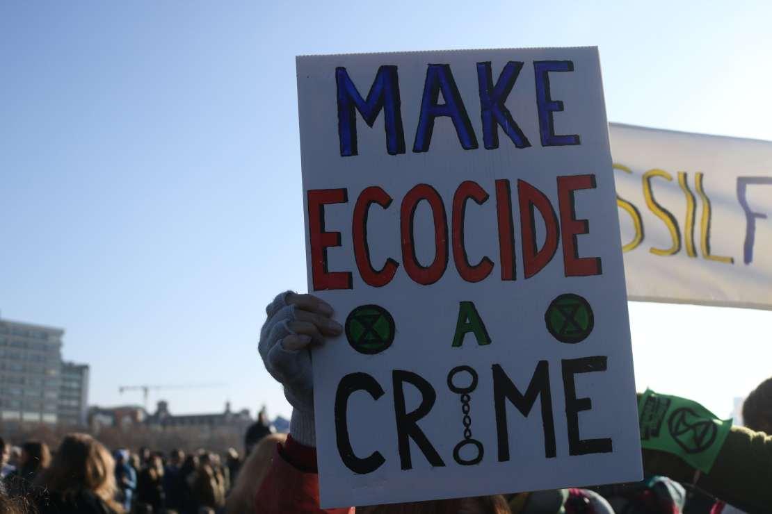 Sign saying 'make ecocide a crime'