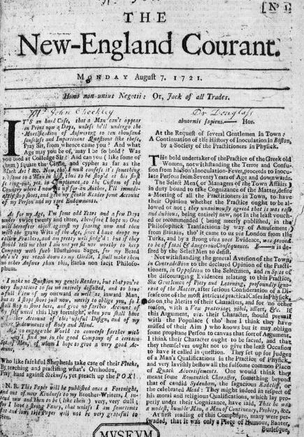 frontpage of a 1721 newspaper