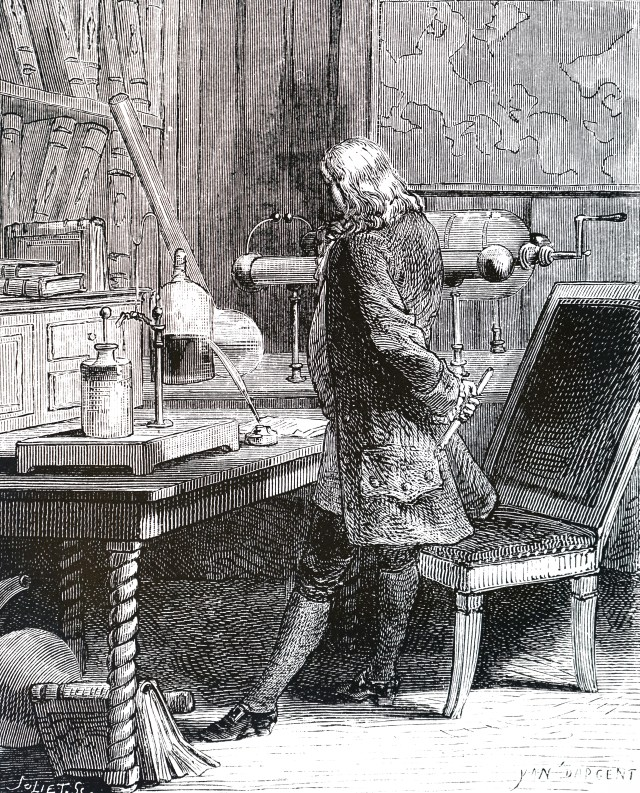 etching of Franklin standing at a table in a lab