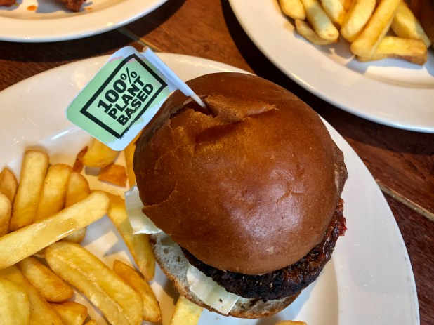A plant-based burger on a plate with some chips.