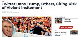 Screenshot of the Voice of America website headline,
