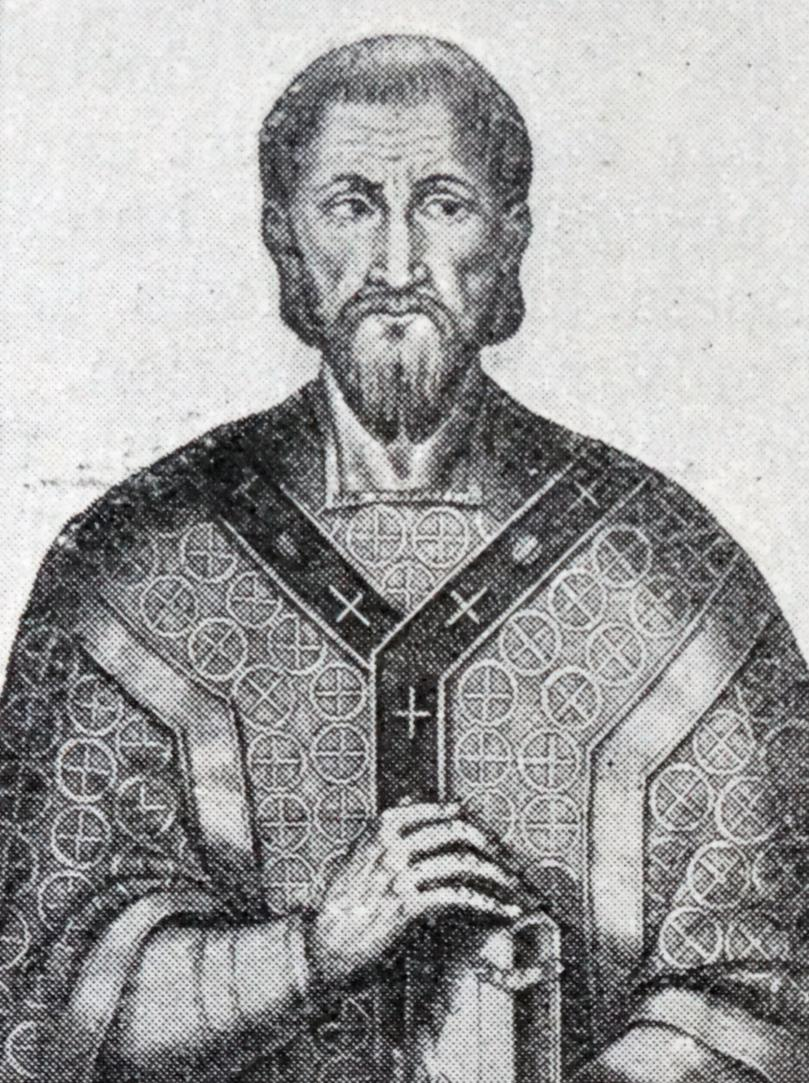 Black and white drawing of a priest from the fourth century.