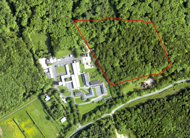 An aerial view of the field station with a square patch of woodland highlighted.