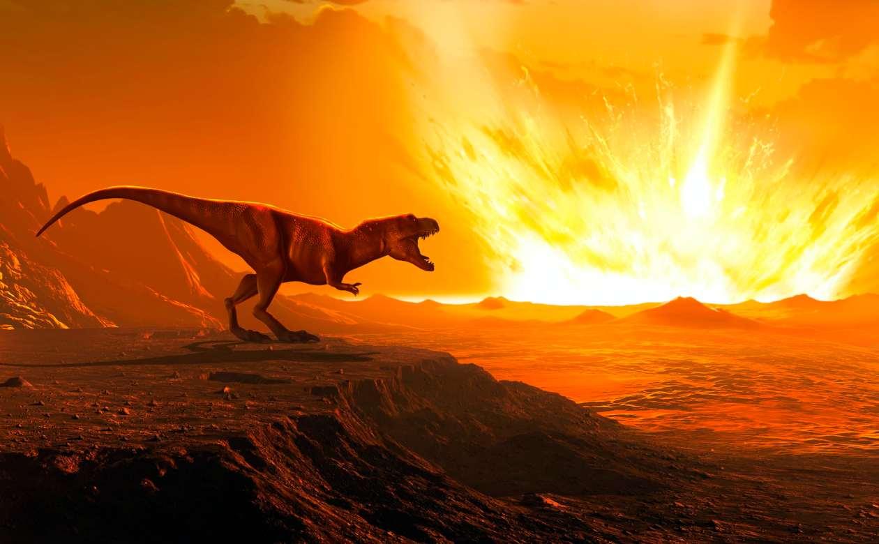 A dinosaur watches an asteroid strike the Earth.