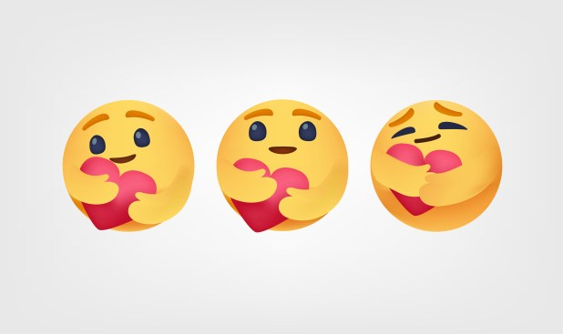 Three versions of the 'care' emoji, a yellow face with arms hugging a pink heart.