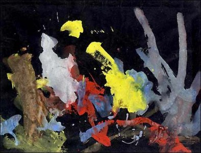 Abstract colours on a black paper.