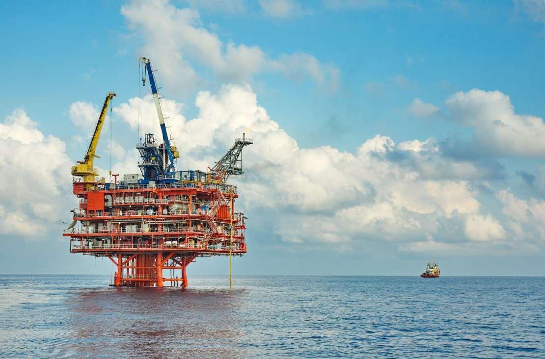 An offshore petroleum platform.