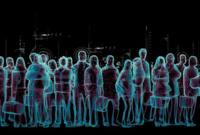 An artistic representation of a virtual crowd