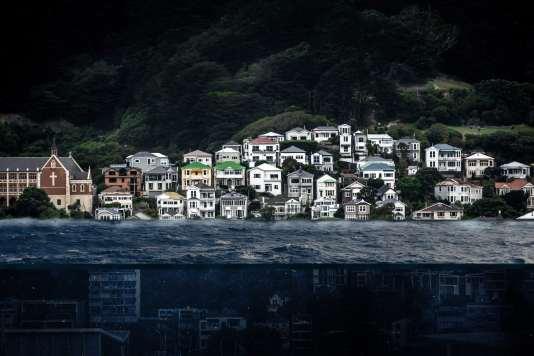 Formas del océano frente a una ciudad costera.