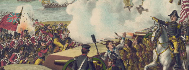 A painting of a battle, with U.S. forces on the right, led by Andrew Jackson, and British forces invading by sea from the left