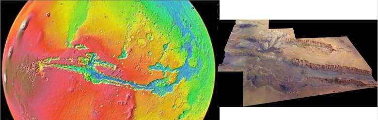 Imagen de Marineris en una vista topográfica codificada por colores.