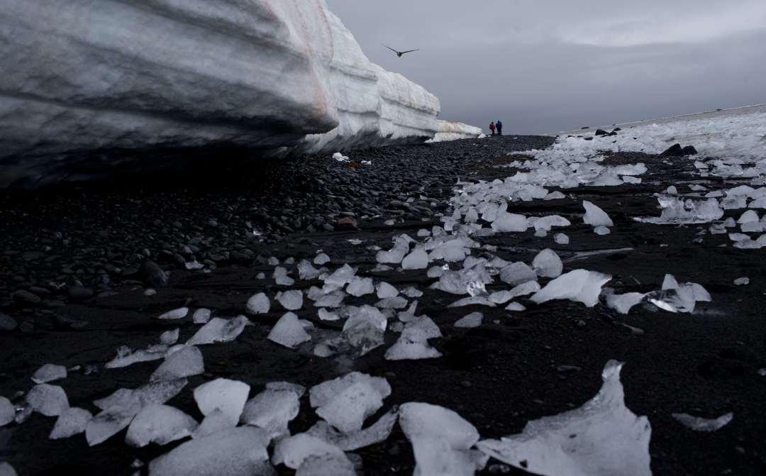thawed ice along Antarctic shoreline