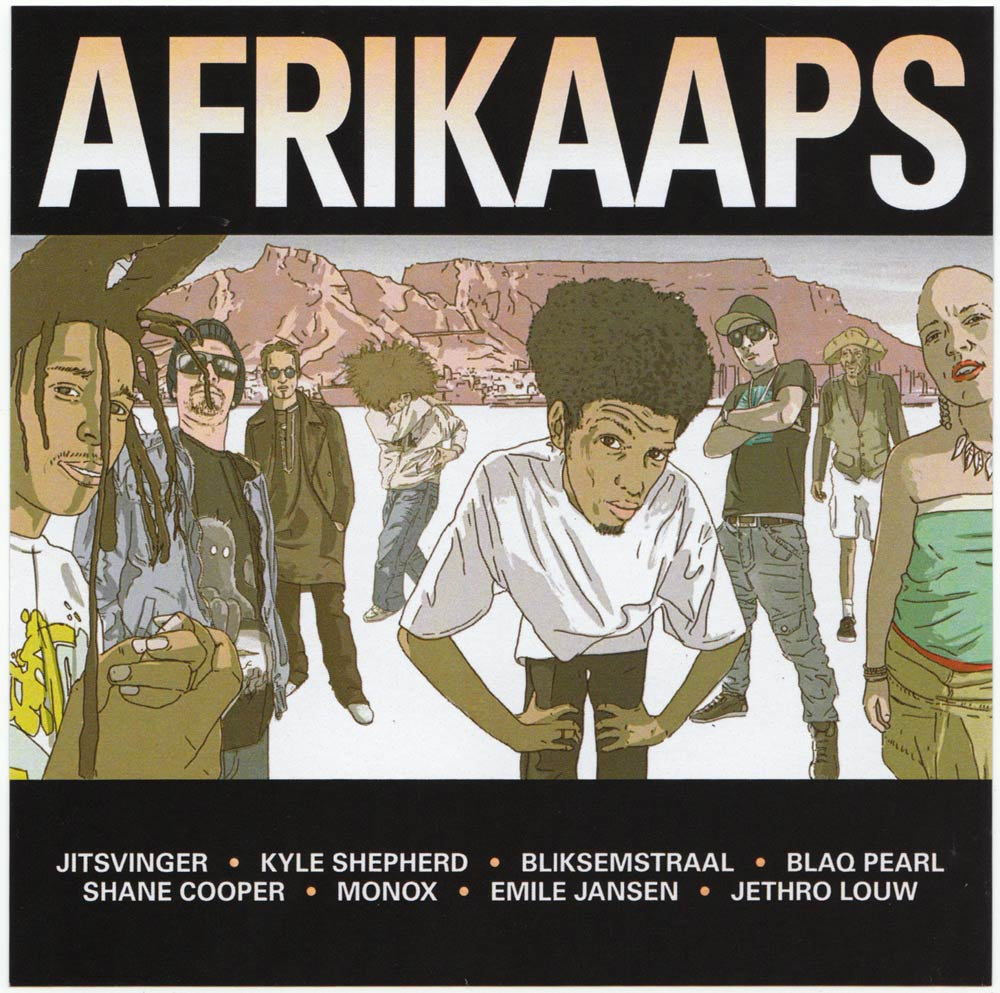 An album cover with the title 'Afrikaaps', an illustration of assorted cool looking young people with a mountain in the background.