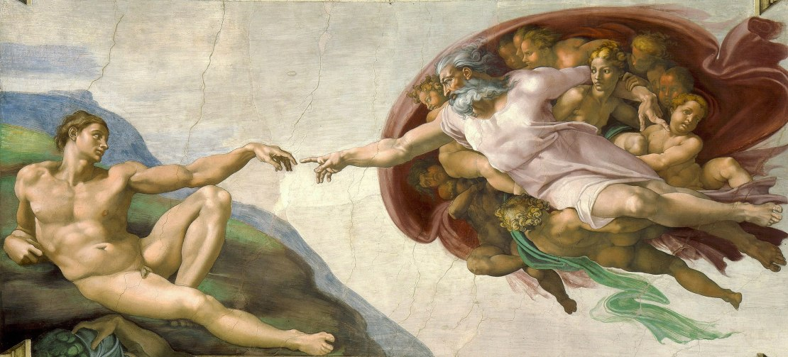 Image of a Michelangelo painting showing the creation of Adam.