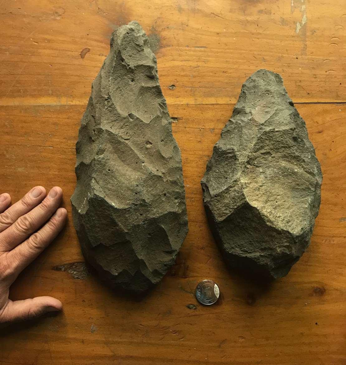 Image of handaxes made by Homo erectus, from Lake Natron, Tanzania.