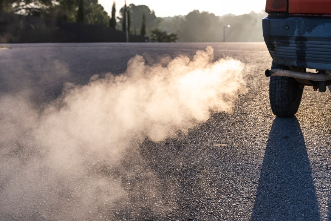 A smokey car exhaust.