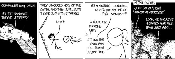 While IPv6 contains an unimaginable number of assignable addresses, as technology evolves we may well reach address exhaustion again! xkcd