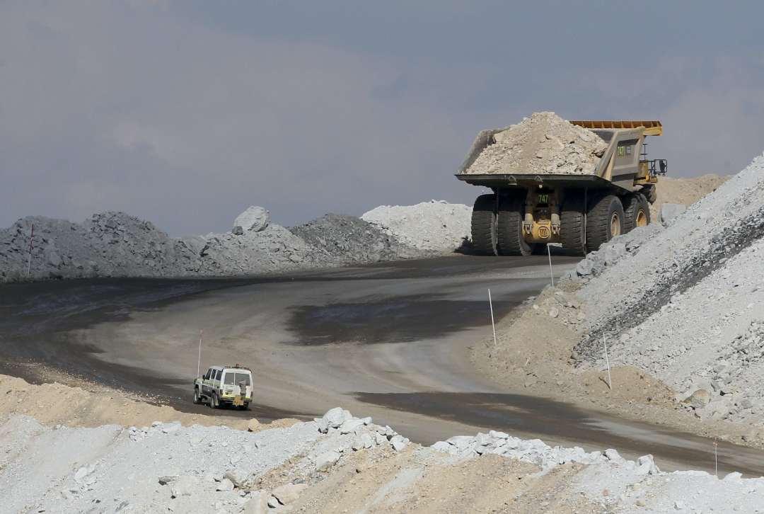 Vehicle carries coal at mine