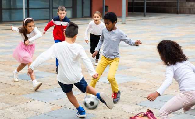 kids playing sport in schoolyard