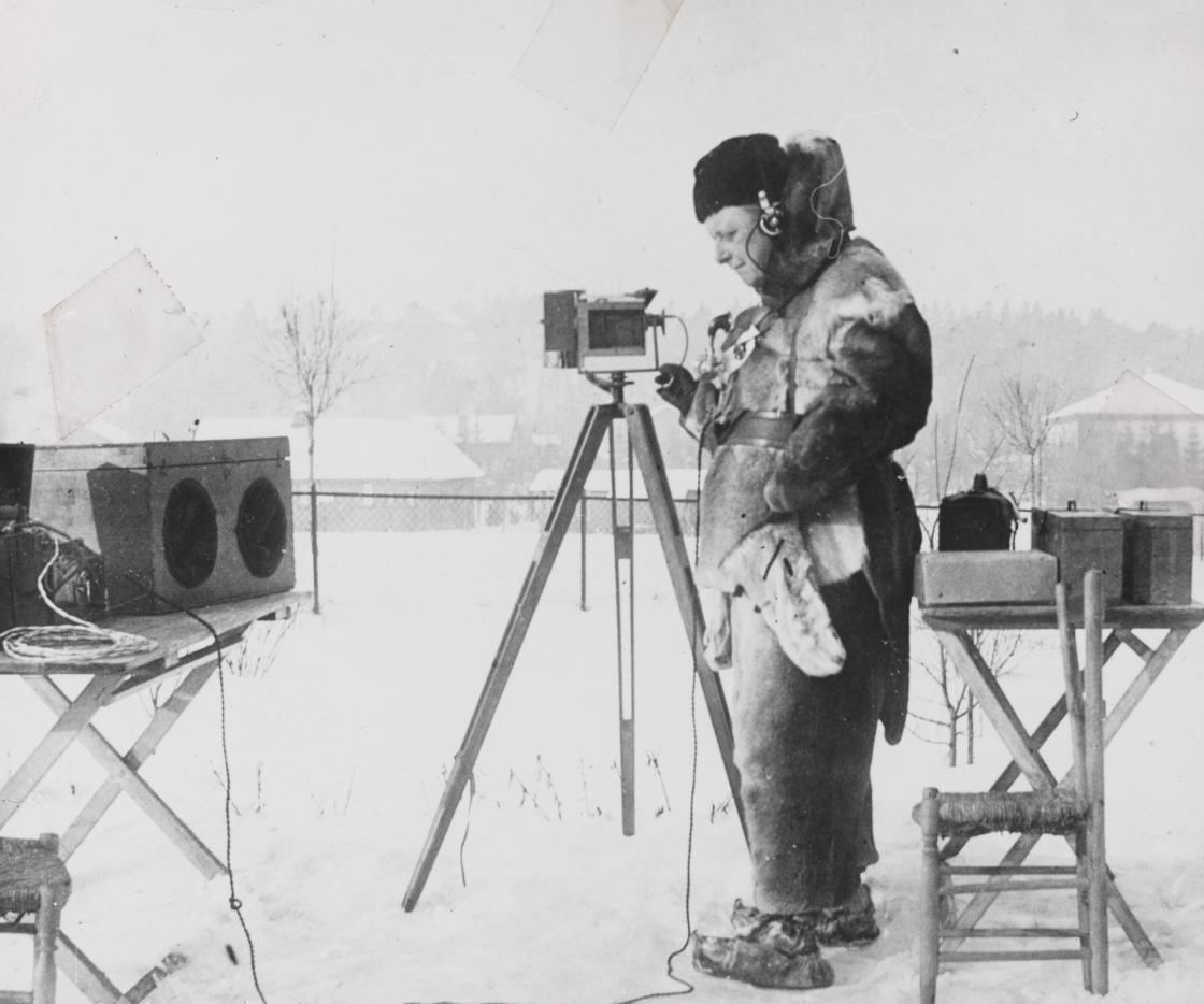 A scientist in the snow