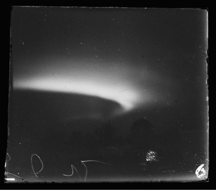 A black and white image of aurora