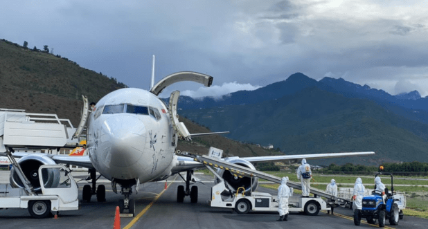Vaccine doses supplied by the US arriving at Paro International Airport, Bhutan