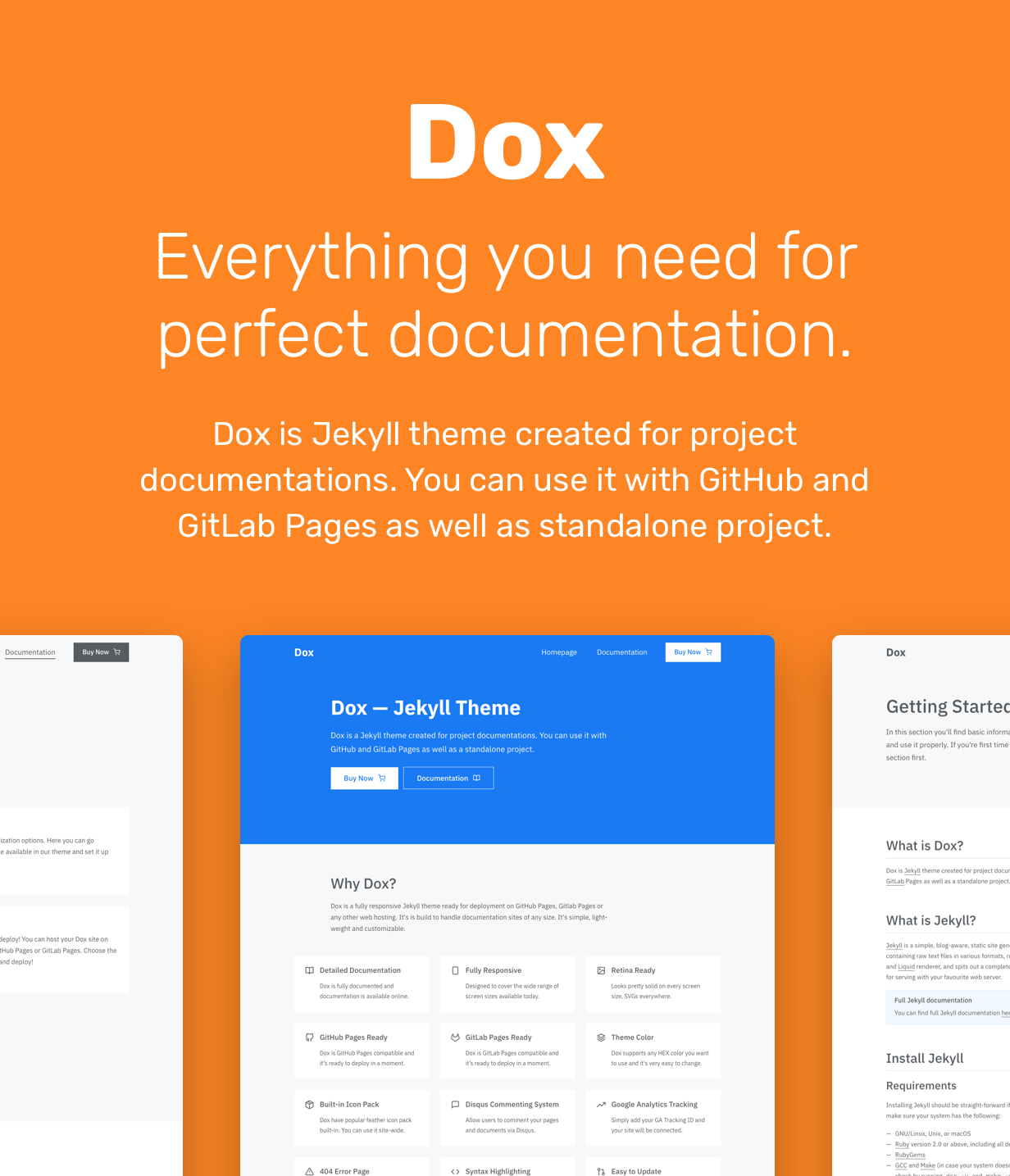 Dox is a Jekyll theme created for project documentations