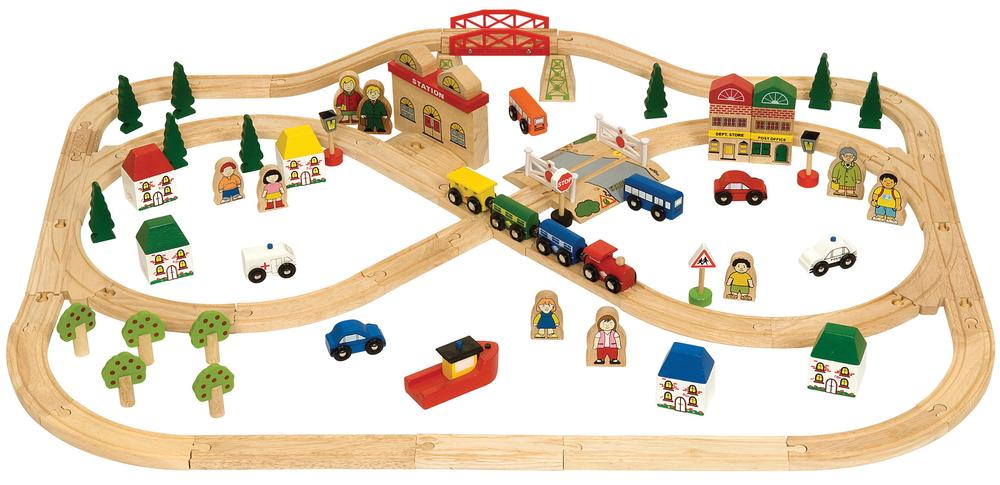 Bigjigs Town & Country Train Set - 101 Pieces