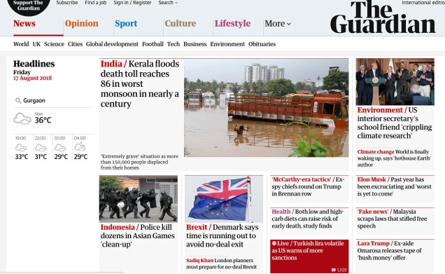 Screenshot of The Guardian website on 17 August, 5 pm.