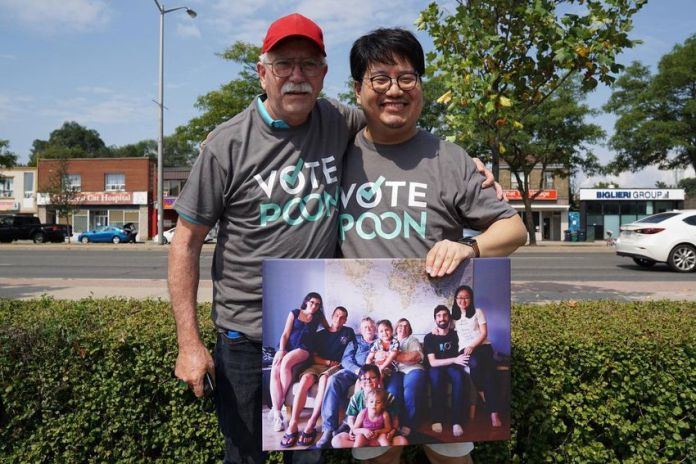 David Edward-Oi Poon (right) and John McCall drive south at Scarborough Riding.  Poon snapped a photo of the McCall family.  John's children say goodbye to their dying mother Donna by video due to COVID-19 border restrictions.