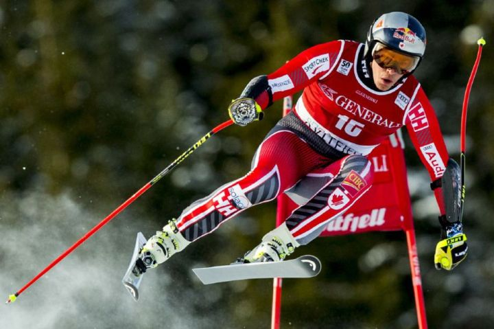 Canada's Erik Guay during his third-place run in the FIS World Cup Alpine Skiing Super-G on Feb. 26.