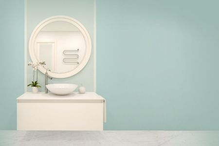 How to pick a paint shade for a spa inspired bathroom   The Star Turquoise paint will add a calm and elegant vibe to a bathroom